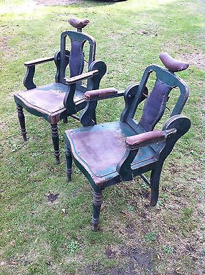 Old Vintage Rare Antique Original Edwardian Barbers Chairs Pair