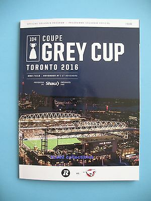 2016 104th GREY CUP GAME DAY PROGRAM Calgary Stampeders vs Ottawa Red Blacks