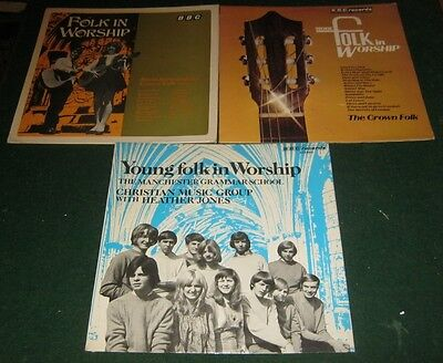 3 FOLK IN WORSHIP BBC LP Records MORE & YOUNG Crown Folk Song Christian Gospel