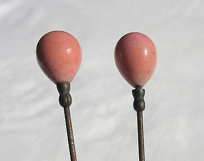 Antique Hatpins Pair Coral Stone Teardrops