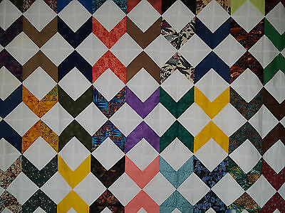 Unfinished Quilt Top-Chevron Design, with Assorted Colors approx 79 x 94