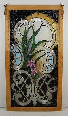Beautiful Floral Art Nouveau Beveled & Jeweled Stained Glass Window Exc Quality
