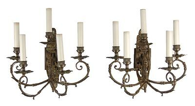 Antique French Louis Style Ornate Bronze 5-light Electrified Wall Sconces
