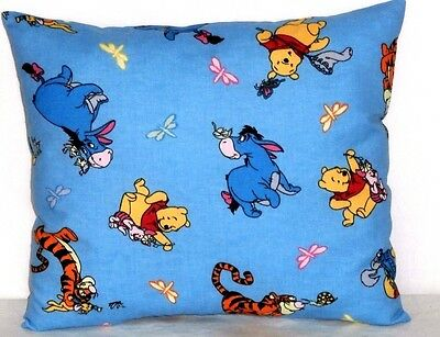 Pooh Toddler Pillow on Blue Cotton P16-11P New Handmade