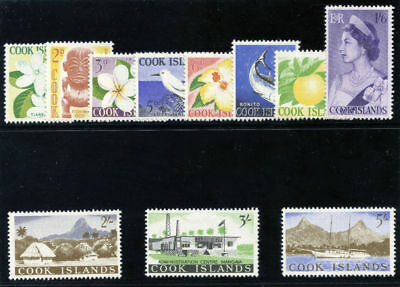 Cook Islands 1963 QEII Definitive set complete MLH. SG 163-173. Sc 148-158.