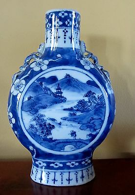 Antique Chinese Blue & White Moon Flask 19th Century