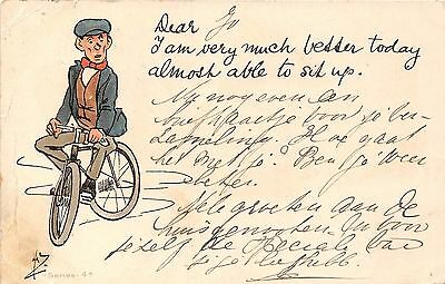 POSTCARD  COMIC   WRITE  AWAY  Cycling  Related  I am  very  much  better...