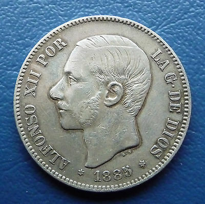 5 Pesetas 1885 Spanien Alfonso XII. Silber ss