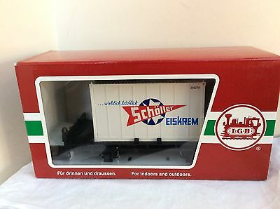 LGB G Gauge 43030 2 Axle Container Wagon SCHOLLER ICE CREAM    BOXED