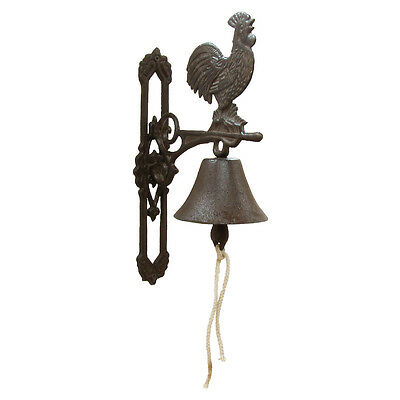New Metal Wall Mount Rooster Welcome Bell Rustic Country Farmhouse Kitchen Decor