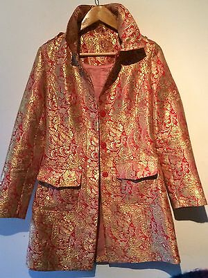 Gold & Pink/Red Brocade Jacket - Size 8/10