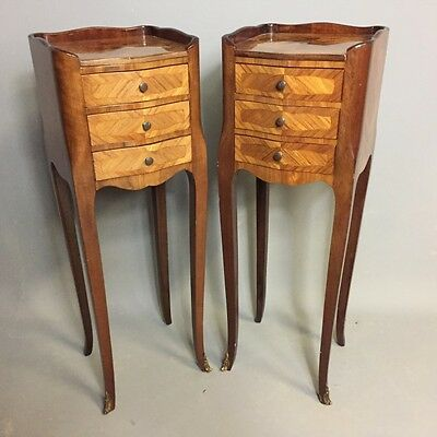 Pair Of French Marquetry Serpentine Side Tables       a14464