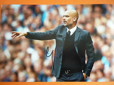 Manchester City Pep Guardiola hand signed photo 12x8