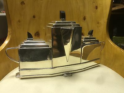 A Stylish Looking Art Deco Style Silver Plate Tea & Coffee Set. Open To Offers.
