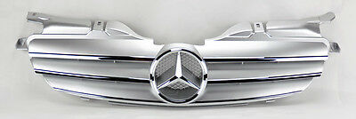 Mercedes SLK 98-04 R170 Front 3 Fin Silver & Chrome Hood Sport Grill W170