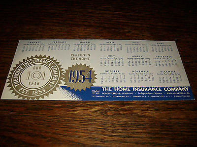 1954 Home Insurance Company Calendar Philadelphia PA VG Condition RARE SCARCE