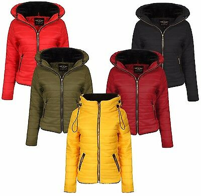 6853d41c039 New Ladies Quilted Padded Puffer Bubble Fur Collar Warm Thick Womens Jacket  Coat