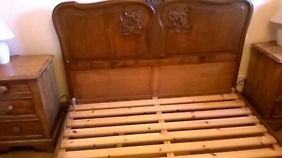French Double Bed With Carved Headboard