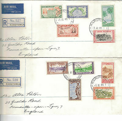 1949 Cook Islands Definitives On Two Fdc  In Superb Condition