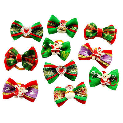 10PCS Christmas Pets Hair Bows W/Rubber Bands Dogs Grooming Headdress Assorted