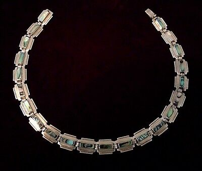 LG. Vintage Taxco Sterling Silver & Abalone Shell necklace, 15""