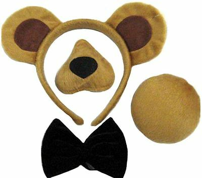 Kids Adult Animal Bear Book Day Fancy Dress Costume Set Sound Nose Tail Ears