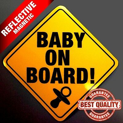 Baby On Board REFLECTIVE Sign  Magnetic
