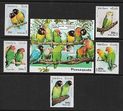 LAOS 1997 Love Birds SG1550/55 and MS1556 unmounted mint MHN