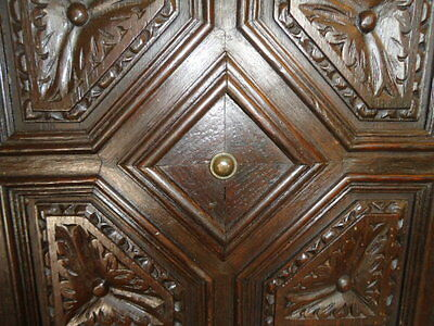 17Th Century Oak Carved Panel Cupboard Door