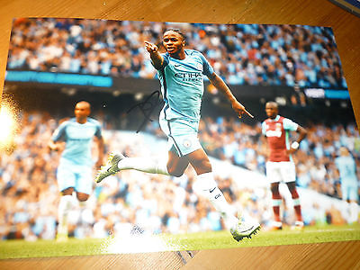 Manchester City Raheem Sterling hand signed photo 12x8