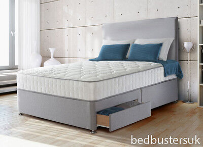 SUEDE DIVAN BED SET + MEMORY MATTRESS + HEADBOARD 3FT 4FT 4FT6 Double 5FT 6FT