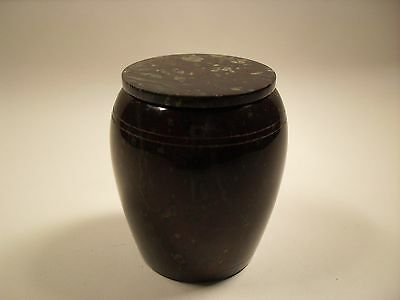Vintage Cornish Red Serpentine Barrel with Lid