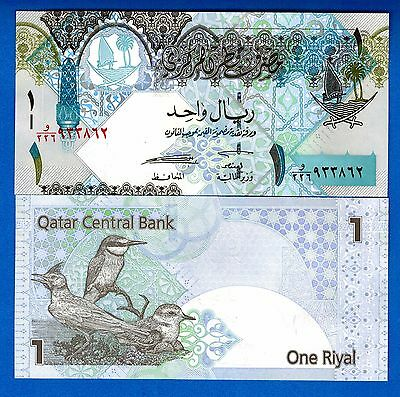 Qatar P-28 1 Riyal ND Year 2008 Birds Uncirculated FREE SHIPPING