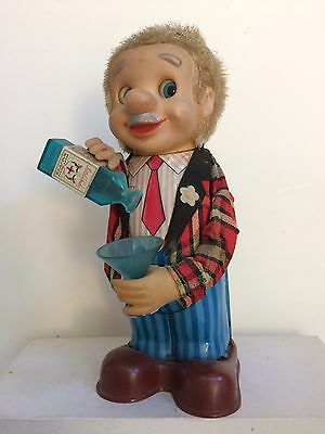 """Vintage Tin Litho """"Bartender Bob"""" Battery Operated Figure Toy"""