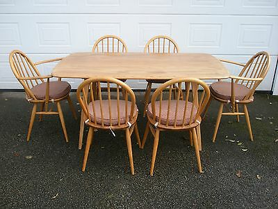 RETRO 1960s / 1970s ERCOL TABLE and SIX CHAIRS - EXCELLENT CONDITION
