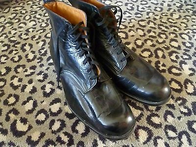 Pair of Victorian/Edwardian Mens handmade Antique Black Leather Boots size 9