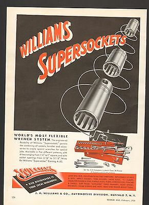 1950 Print Advertisement AD Williams Super Sockets Most Flexible Wrench System
