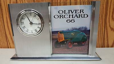 Oliver Orchard 66  Desk Clock Aluminum Finish with Glass Picture Frame New