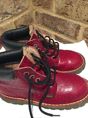 Rare Junior/child Dr Martens Boots Made In England Red/Cherry