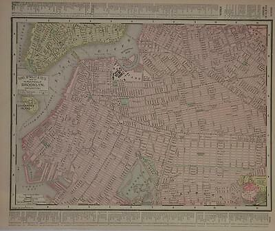 1895 Brooklyn, NY Antique Dated Atlas map* S. New York City back ..121 years-old
