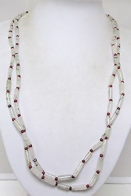Very long vintage agate & garnet bead necklace (sterling silver clasp)