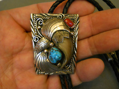 J. TOADLENA turquoise coral faux bear claw sterling silver bolo tie