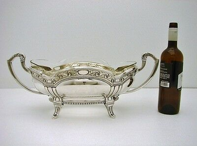 Large German Sterling Silver wth Glass Insert jardiniere Centerpiece Bowl Marked
