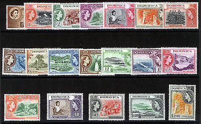 Dominica 1954-57 Definitives Sg140/158 Mnh