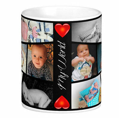 Personalised Photo Mug 12 Picture Collage Design Any Text Gift Tea Coffee Cup