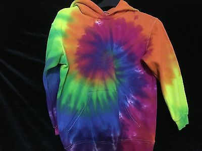 Hand tie dyed kids hoodie festival hippy Unisex hoody hooded top 9 to 11 years