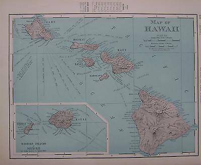 1898 Hawaii Dated Color Atlas Map*  Indexed with Populations .. 118 years-old!!