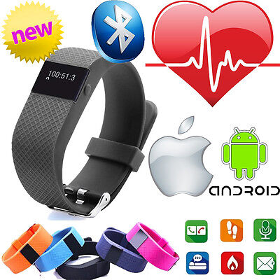Heart Rate Activity Tracker Bluetooth Wristband Fitbit Style Watch Apple Android