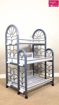 3 Tiers Plastic Kitchen Drying Rack Dish Cup Dryer Tray Utensil Holder Organizer