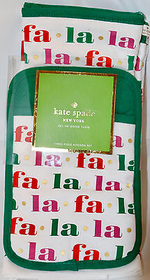 Kate Spade FA LA LA HOLIDAY 3 Pc Kitchen Set Towel Oven Mitt Potholder Christmas
